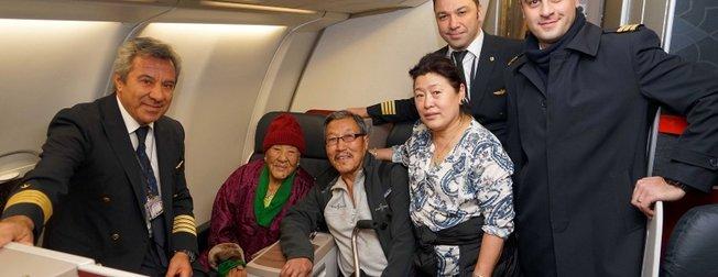 THY tarihinin en yaşlı yolcusunu taşıdı! 102 yaşındaki Ang Phurba Sherpini...