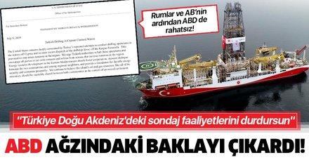 """ABD yönetimi ağzındaki baklayı sonunda çıkardı! """"Türkiye Doğu Akdeniz'deki sondaj faaliyetlerini durdursun"""""""