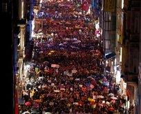 Kadınlar Gününde İstiklal Caddesinde iğrenç pankartlar
