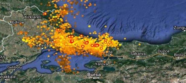 İstanbuldaki şimşekler haritada böyle görüntülendi