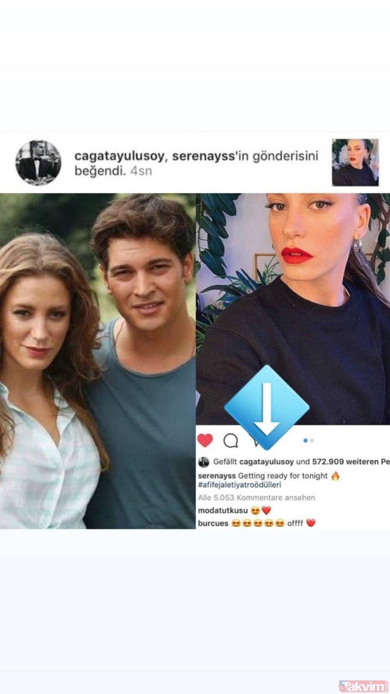 Hakan Muhafız dizisinin yakışıklı oyuncusu Çağatay Ulusoy ile Serenay Sarıkaya... Şok hareket!