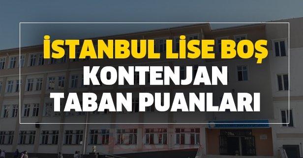 İstanbul lise boş kontenjan ve taban puanları belli mi?