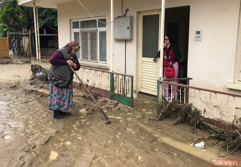 Düzce'de yağış ve heyalan felaketi! Havadan böyle görüntülendi