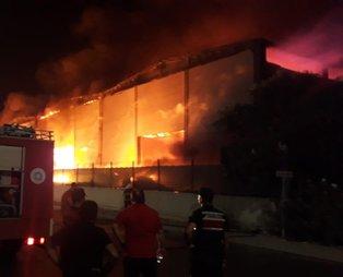 Antalya'da plastik fabrikasında yangın! Alevler geceyi aydınlattı