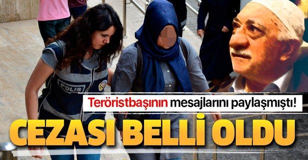 Teröristbaşının mesajlarını paylaşmıştı! İşte cezası