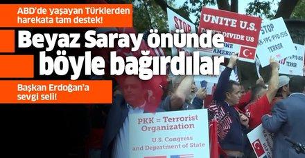 Türklerden Beyaz Saray önünde Barış Pınarı Harekatı'na destek gösterisi!