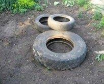 Araba lastikleriyle evinin bahçesine öyle bir şey yaptı ki...