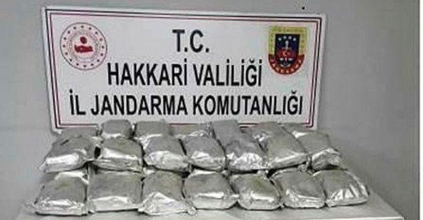 Hakkari'de yüklü miktarda eroin ele geçirildi