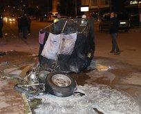 Motosikletine çarptıkları çöp toplayıcısını hastanelik ettiler