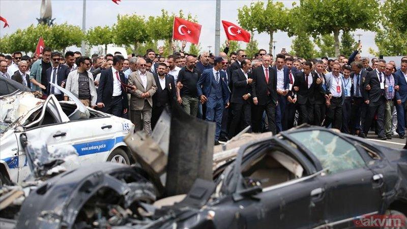 15 Temmuz'da FETÖ'cü pilotların bombaladığı araçlar sergilendi
