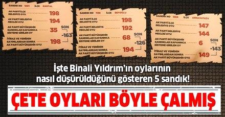 İşte Binali Yıldrım'ın oylarının nasıl çalındığı gösteren 5 sandık! Çete oyları böyle çalmış