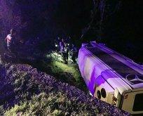 Turistleri taşıtan minibüs Nemrut Dağı'nda kaza yaptı