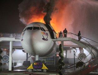 Konyada Airbus A300 cayır cayır yandı