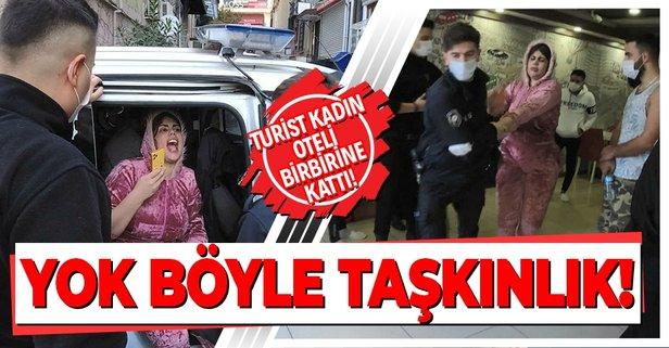 İstanbul Beyoğlu'nda hareketli anlar! Turist kadın oteli birbirine kattı