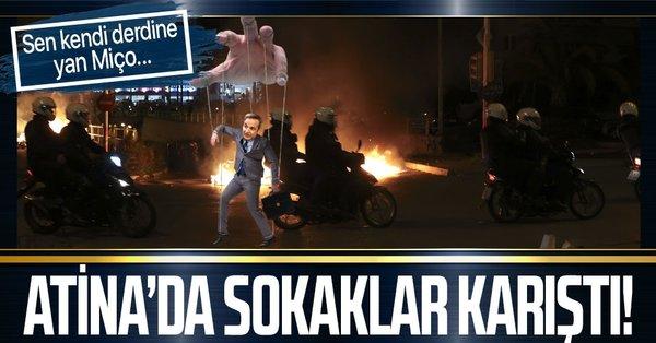 Yunanistanın başkenti Atinada polis şiddetini protesto eden göstericiler polis ile çatıştı!