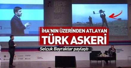 Selçuk Bayraktar paylaştı! İHA'nın üzerinden atlayan Türk askeri