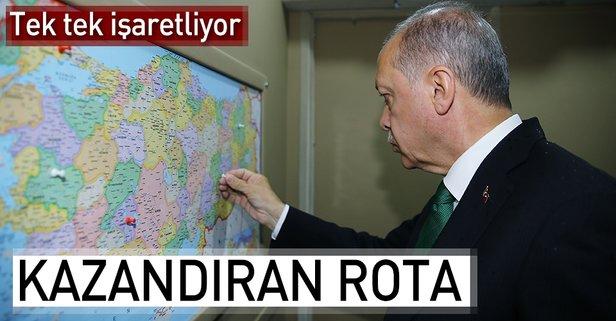 Cumhurbaşkanı Erdoğan gittiği yerleri işaretliyor