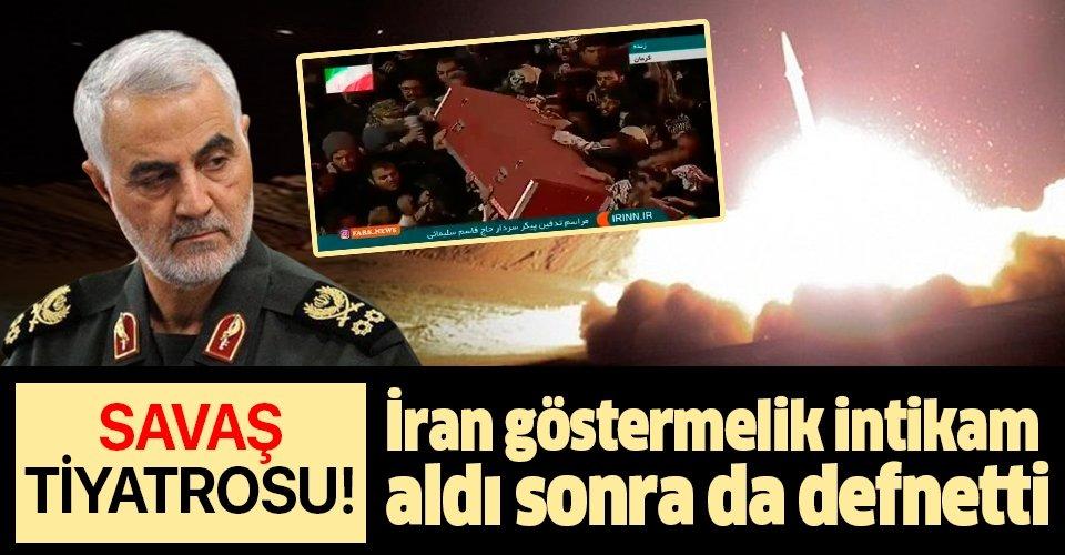 Defin işlemlerinden önce şov! İran'da Kasım Süleymani'nin naaşı füze saldırılarının ardından toprağa verildi