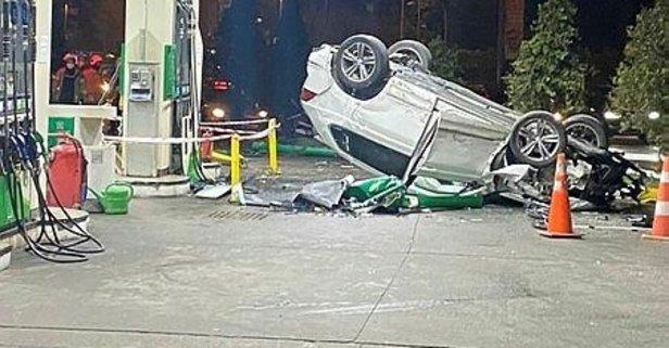 Kontrolden çıkan cip benzin istasyonuna daldı!