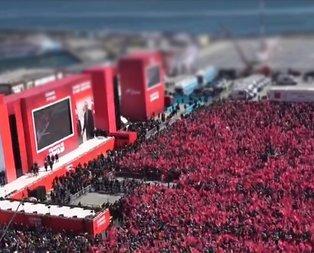 Yenikapı'daki Büyük İstanbul Mitingi havadan böyle görüntülendi