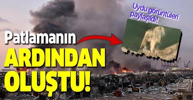 Beyrut'taki patlamanın ardından oluşan krater!
