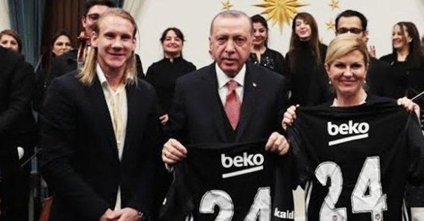Başkan Erdoğan ile Domagoj Vida'nın ilginç diyaloğu!