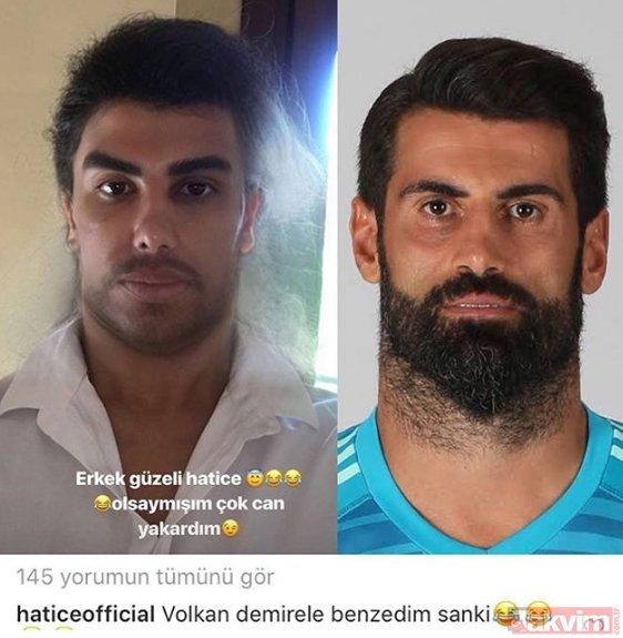 Hatice kendisini Fenerbahçe'nin yıldız kalecisi Volkan Demirel'e benzetti! İşte ünlülerin yeni akımı...