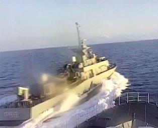 Yunan hücum botunun tacizi kamerada!
