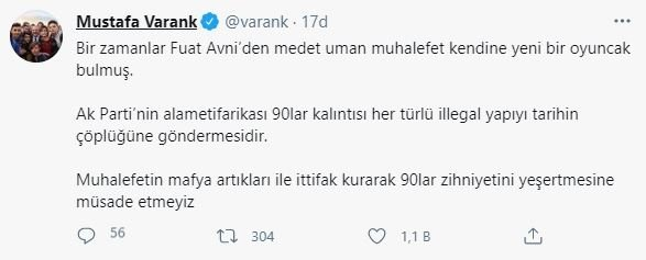 Sanayi ve Teknoloji Bakanı Mustafa Varank'tan mafya lideri Sedat Peker tepkisi: Fuat Avni'den medet uman muhalefet... 12
