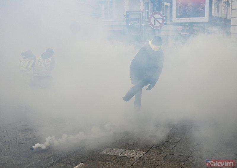 Paris'te sarı yeleklilere polis müdahalesi