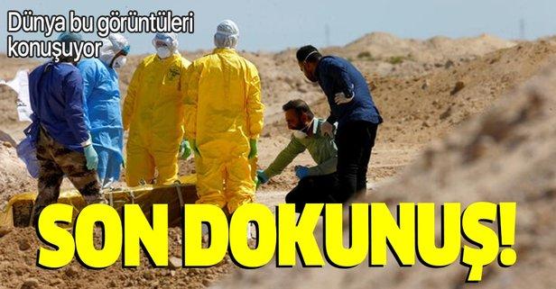 Koronavirüsten öldü çöle gömüldü! Yakınları sadece tabuta dokunabildi!