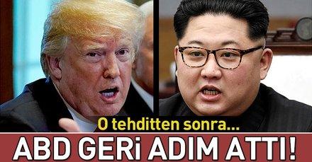 Kim Jong Un tehdit etti, ABD geri adım attı!