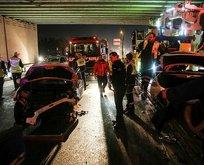 E-5te feci kaza! Metrobüs yoluna araç girdi