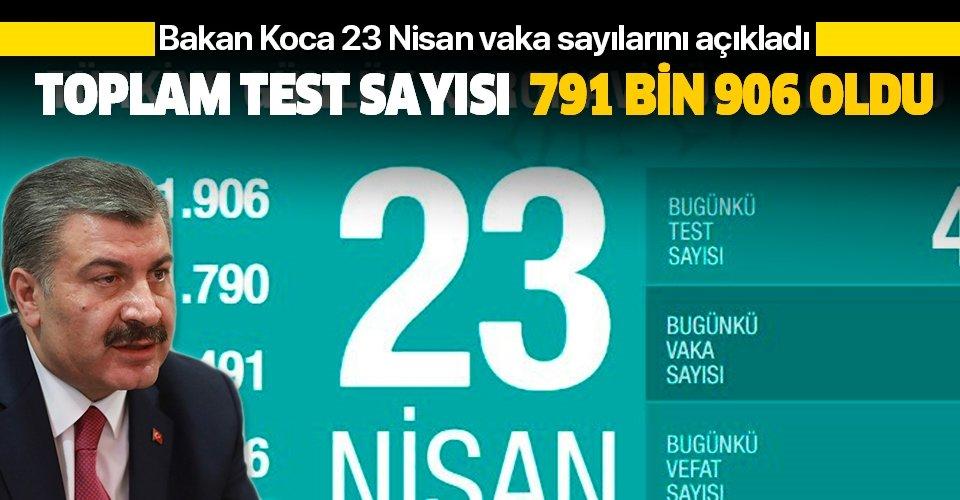 Son dakika: Bakan Koca 23 Nisan Kovid-19 vaka sayılarını açıkladı: Test sayısı 791 bin 906 oldu