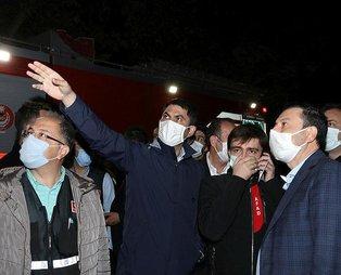 Çevre ve Şehircilik Bakanı Murat Kurum, İzmir'de enkazlarda yürütülen çalışmaları inceledi