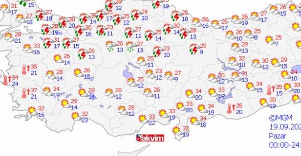 Meteoroloji son dakika: Pazar günü İstanbul'da yağmur dolu yağacak mı? 19 Eylül 2021 İstanbul hava durumu: Pazar günü hava nasıl olacak?