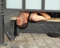 Tramvay durağında uyuşturucu krizine girdi