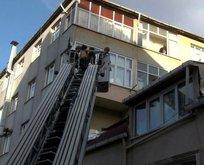 5. kattan yan binanın çatısına düştü