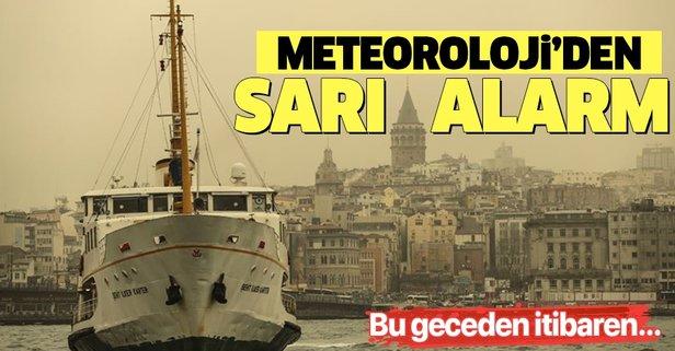 Meteoroloji'den sarı alarm! Bu geceye dikkat