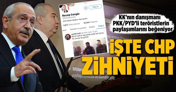 KKnın danışmanı PKK/PYD'li teröristlerin paylaşımlarını beğeniyor