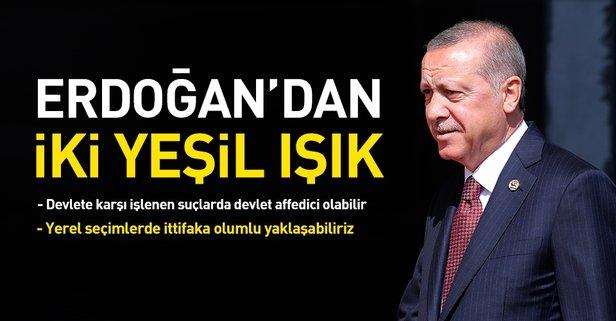 Başkan Erdoğan'dan af açıklaması