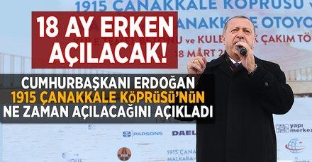 Cumhurbaşkanı Erdoğan'dan Çanakkale müjdesi