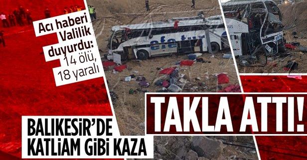 Balıkesir'de katliam gibi kaza! Yolcu otobüsü yoldan çıktı