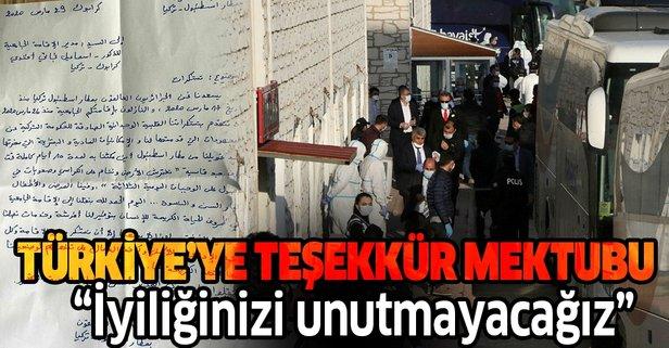 Türkiye'ye teşekkür mektubu