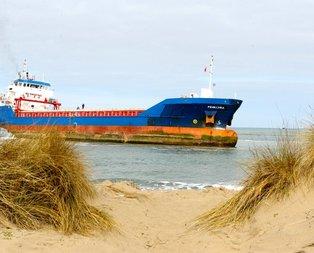 Karaya oturan gemi böyle kurtarıldı!