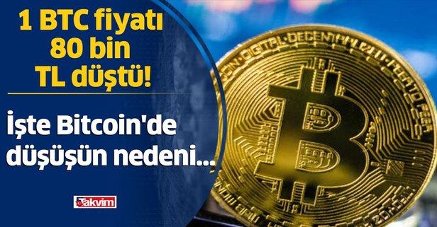 1 BTC fiyatı 80 bin TL düştü! İşte Bitcoin'nde düşüşün nedeni...