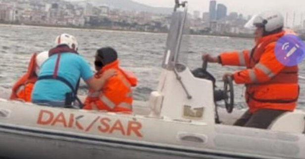 Bostancı'da panik anları! Denize atlayan kadın...