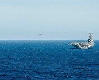 Ülke şokta! Helikopter, uçak gemisinin üzerine düştü