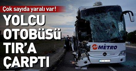 Amasyada yolcu otobüsü TIRa çarptı