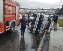 İstanbul'da tanker devrildi! Yaralılar var
